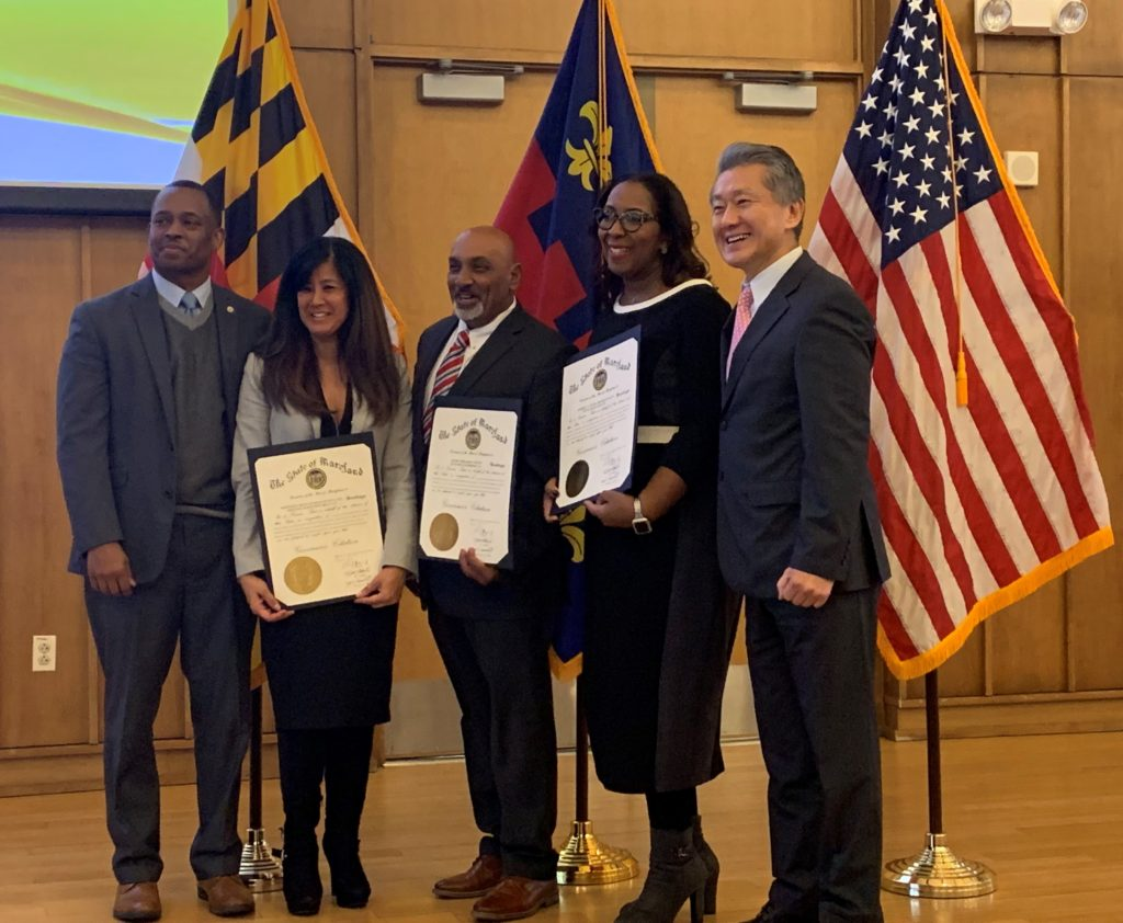 Mercedita Roxas-Murray of Montage Marketing Group receives a Governor's Citation for economic and community service contributions within the state of Maryland.